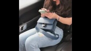 Lesbian slave worship mistress feet in the car after class