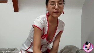 Asian Chinese Nurse Giving a Lovely Blowjob to her Patient (JUNE LIU) ( 刘玥)